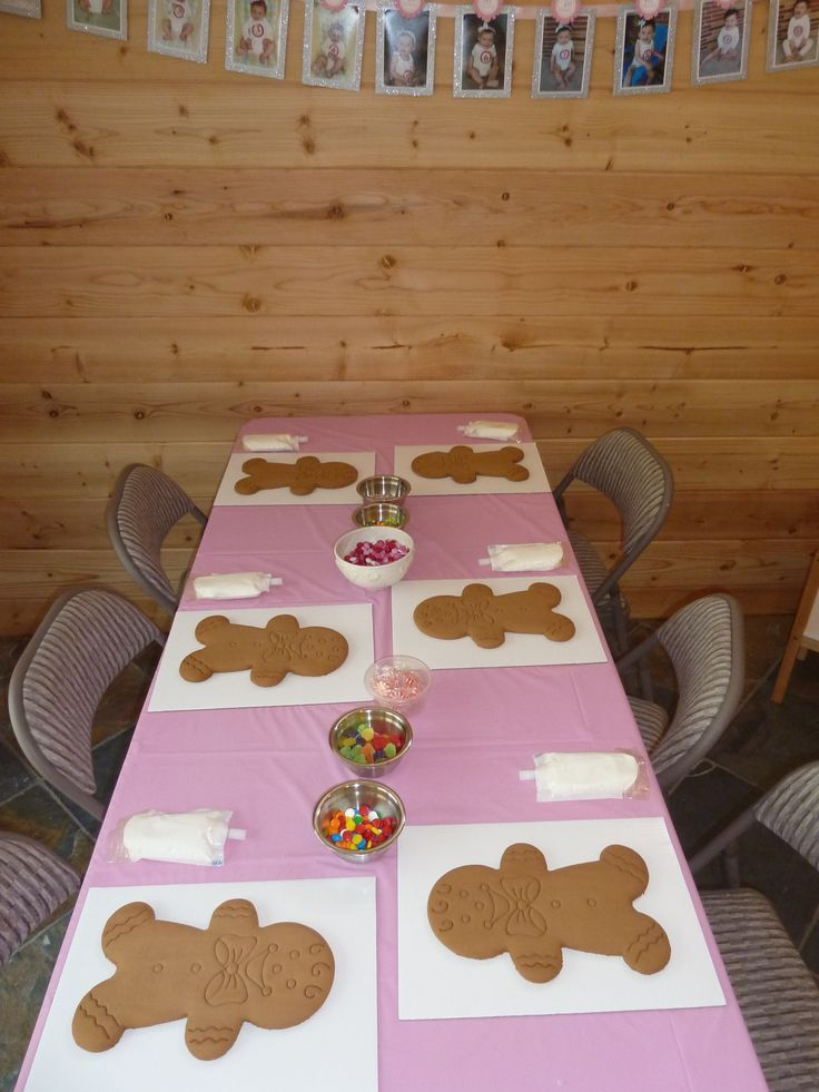 Giant Gingerbread man decorating station. I got them from Costco during the xmas season.