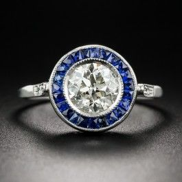 1.45 Carat European-Cut Diamond and Sapphire Halo Ring - Vintage Diamond Engagement Rings - Vintage Engagement Rings