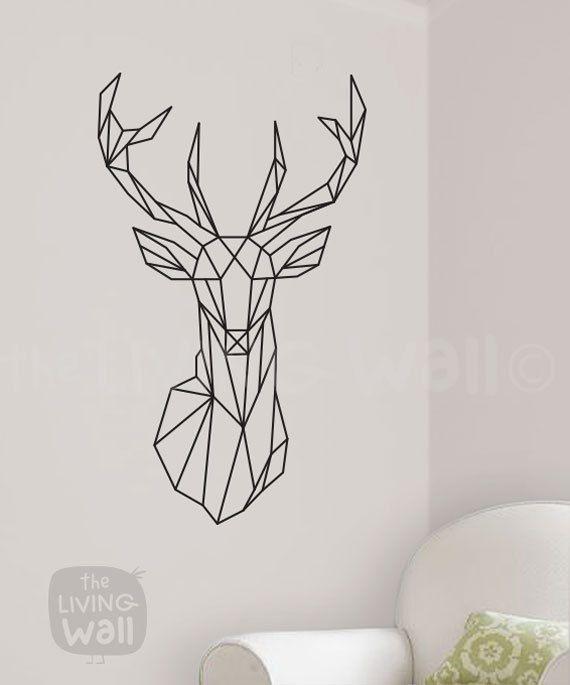 Testa di cervo geometrica adesivi animale geometrico di LivingWall