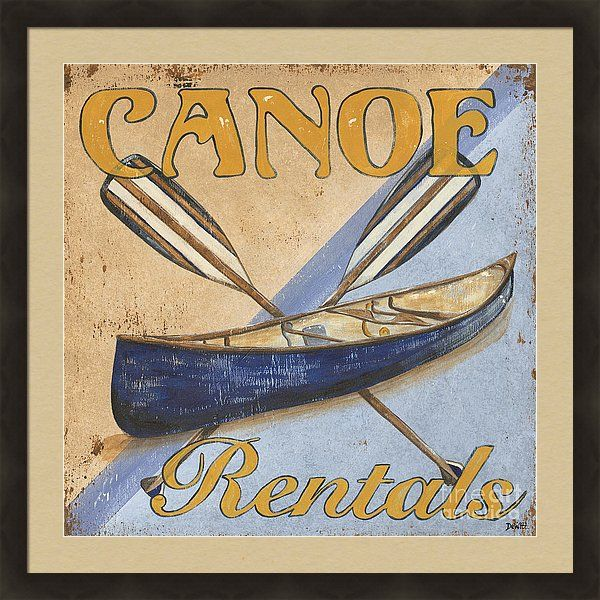 Live Art Print featuring the painting Canoe Rentals by Debbie DeWitt
