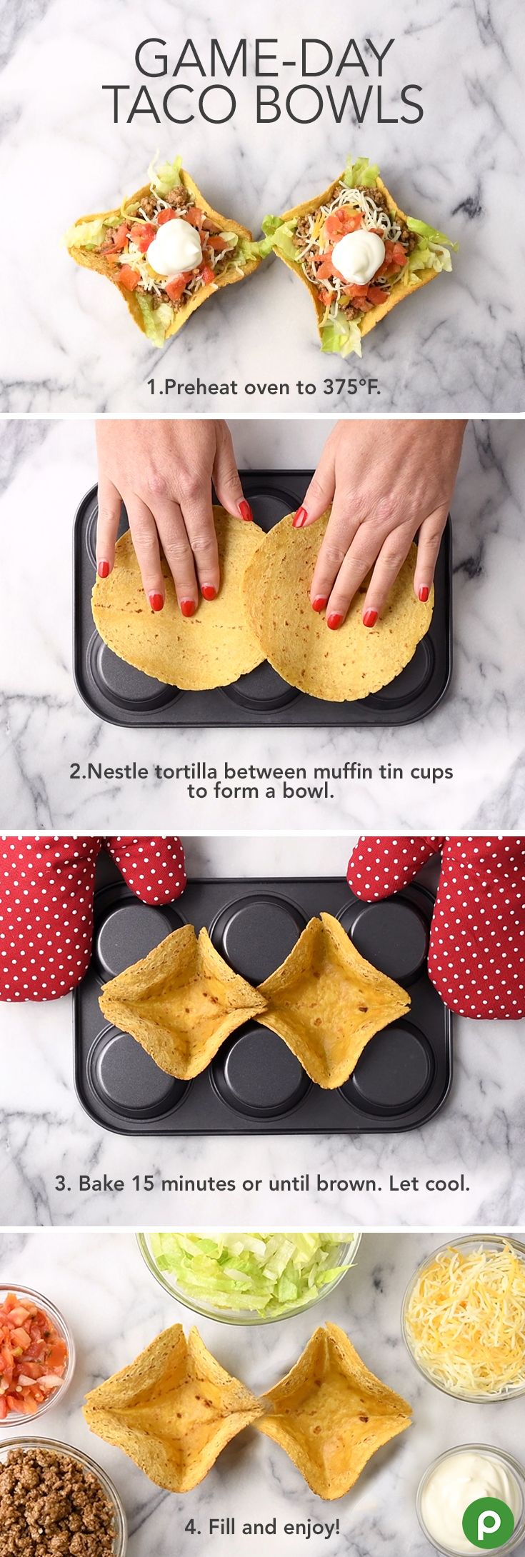 Make a taco bowl using the underside of a muffin tin. Place the corn tortillas on the underside of the muffin tin and heat in the oven for 15 minutes at 375°F. In a large skillet, brown ground beef and add taco seasoning according to package directions. Place corn tortilla bowl on a plate. Fill with desired amount of shredded lettuce. Top with seasoned ground beef mixture and lettuce, cheese, tomatoes, and sour cream. Serve immediately and enjoy!