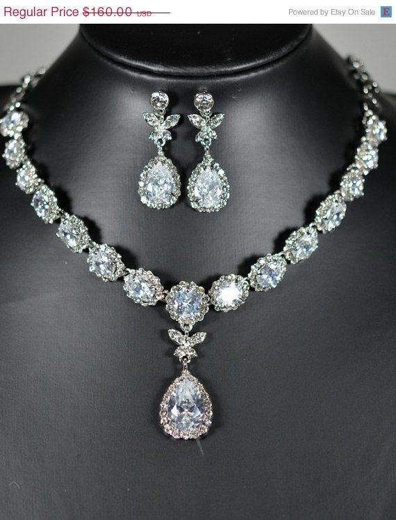 20%OFF Bridal necklace   SET ,Wedding jewelry, bib necklace, rhinestone Victorian bridal statement , tear drop dangle earrings ,back on Etsy, $39.99