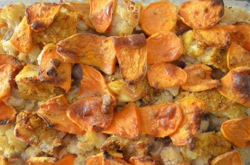 ovenschotel met kabeljauw, bloemkool en zoete aardappel