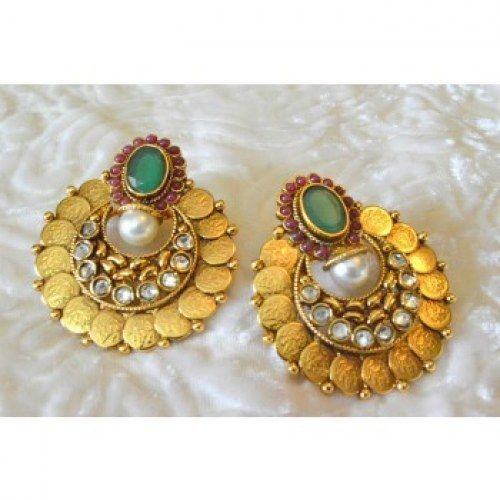 Latest Beautiful Coin Ginni Temple Polki Earring PO382 - Online Shopping for Earrings by Vastradi