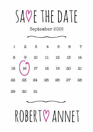 Verplaats de cirkel naar de datum van je trouwdag en pas de teksten aan. Als enkele- en als dubbele kaart te gebruiken.  #trouwen #savethedate #aankondiging #uitnodiging