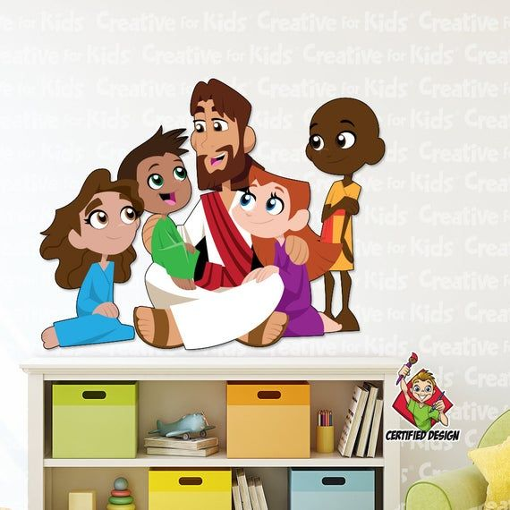 Jesus With Children Wall Decal Bible Story Etsy In 2021 Kids Decals Nursery