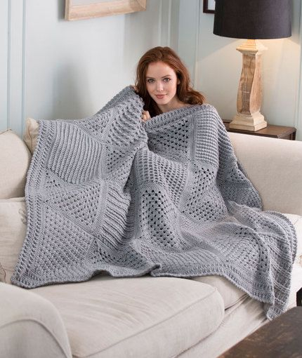 Checkerboard Textures Throw - free pattern via Red Heart - saving specifically for square #8
