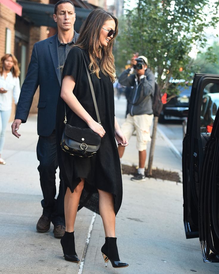The model, mother, and cookbook author steps out in the ideal LBD for the transitional temps.