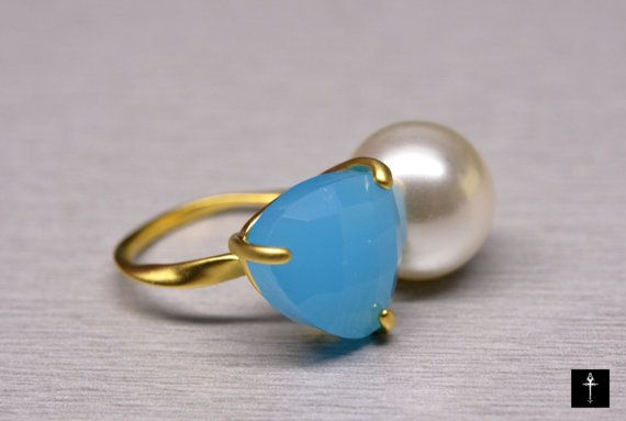 Fashion Light Blue Glass Ring with white Pearl Gold by BYTWINS