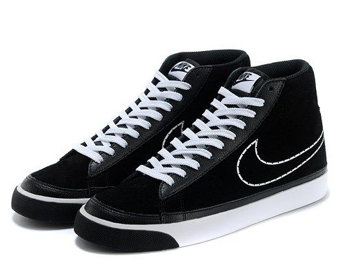 Cheap 371761-809 Nike Blazer MID suede black white men running shoes