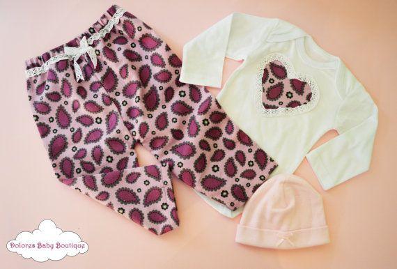 Baby Set Purple Pants Cotton Pants Baby by DoloresBabyBoutique