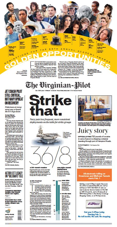 The Virginian-Pilot's front page for Friday, Jan. 17, 2014.