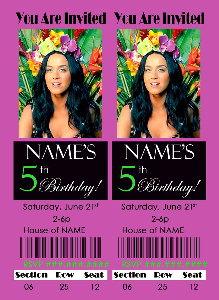 """I heart PhotoShop! I make my daughters' birthday cards and just send them to the photo department of my local store. Cheap, and sometimes they throw in envelopes for me :-P This particular year she loved Katy Perry so I made a """"clean"""" KP party and used these """"concert ticket"""" invitations along with a VIP pass!"""
