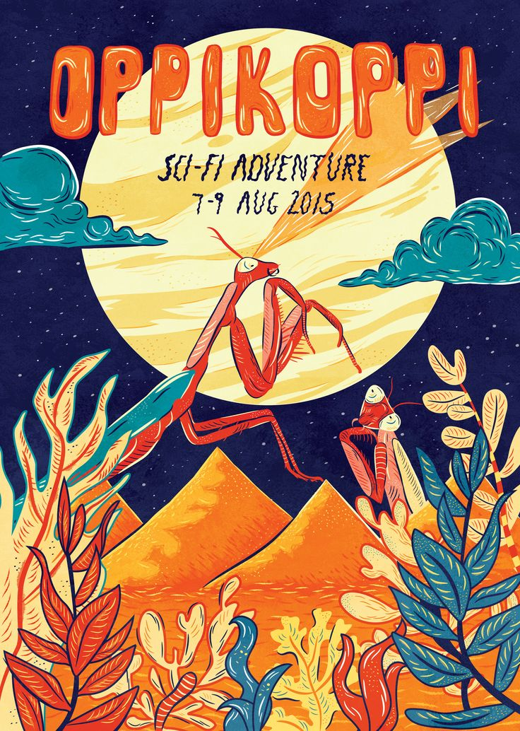 A student project poster design #Studentproject #Poster #posterdesign #illustration #Oppikoppi #Prayingmantis #sci-fi #Foreignplanet #Moon #plants #space #spaceplants #Spacecreatures #outerspace