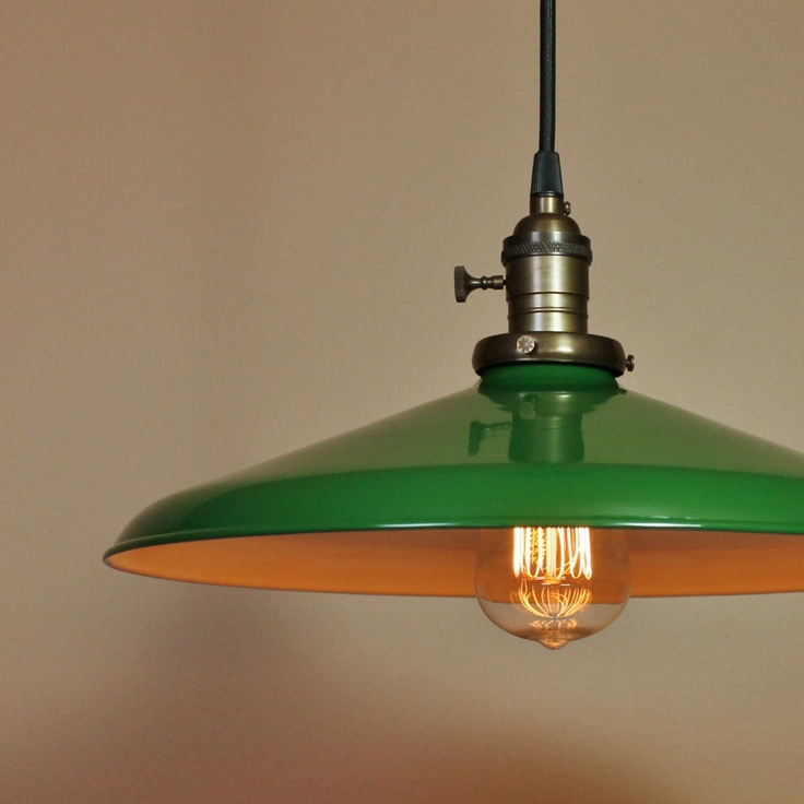 14 inch Pendant Light Forest Green Porcelain Enamel Finish Antique Style