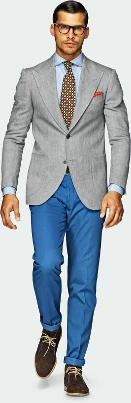Suitsupply - Jacket - Grey - Washington Half: Blue Jeans, Men'S Fashion, Men'S Styles, Men'S Grey Jackets Blue Pants, Gray Suits, Man Clothing, Fashion Men'S, Blue Dresses Pants Men'S, Suits Jackets