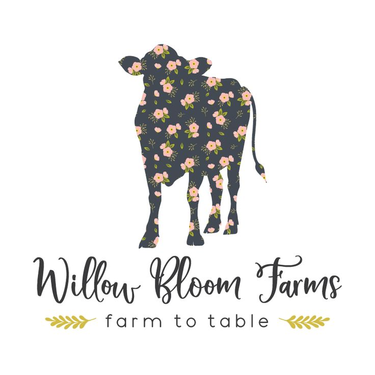 Floral Cow Premade Logo Design - Customized with Your Business Name!
