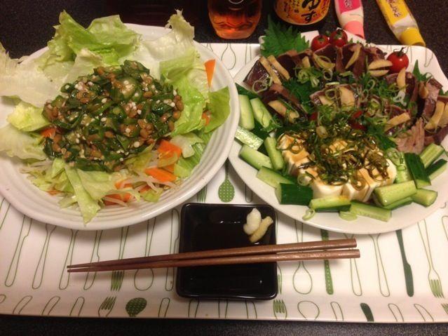野菜を沢山食べてたら、満腹感はあるけど痩せてきた!♪( ´θ`)ノ❤ - 68件のもぐもぐ - オクラ納豆サラダ、鰹のたたき、冷奴、塩もみキュウリ、ミニトマト!✩⃛꒰⁎⁍̴◡⁍̴⁎ ॢ꒱✨ by scorpion
