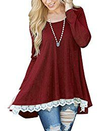 New Lasvane Women Long Sleeve Tunic Tops Blouse For Leggings Lace Shirt online. Find the perfect Ray-JrMALL Tops-Tees from top store. Sku RMKM95727WXUS31096