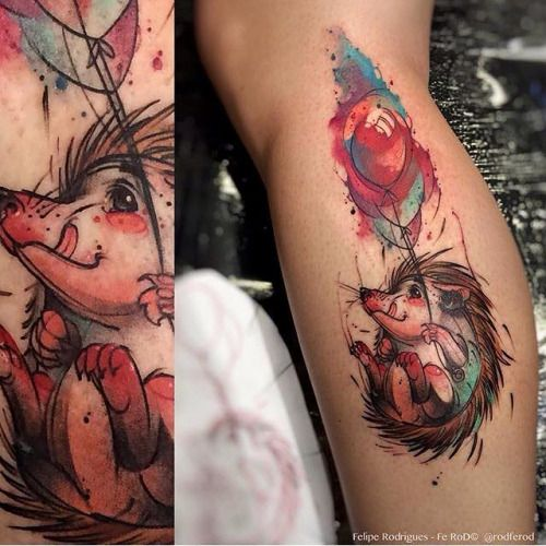 Felipe Rodrigues hedgehog tattoo