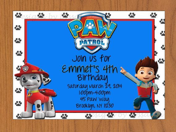1000+ ideas about Paw Patrol Birthday Invitations on Pinterest ...