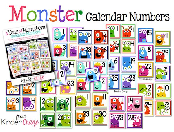 ADORABLE monster numbers for a classroom calendar. A different colored set for each month!