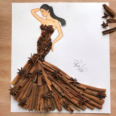 Dress made of cinnamon sticks and star anise by Edgar Artis