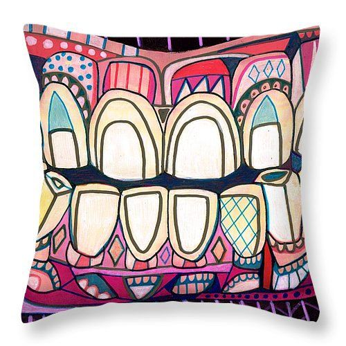 Tooth Art Pillow Modern Abstract Folk Art by Heather Galler Dental Medical Science Teeth Anatomy (HG867)
