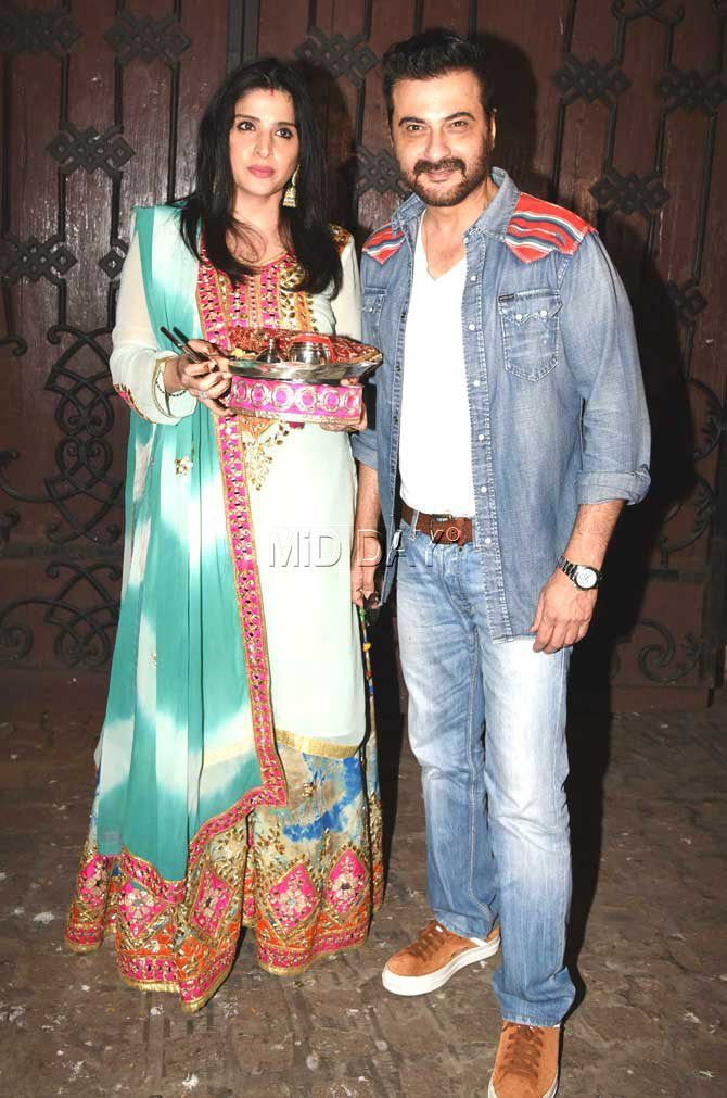 Sanjay Kapoor with wife Maheep at Anil Kapoor's residence for Karva Chauth celebrations. #Bollywood #Fashion #Style #Beauty #Hot #Ethnic
