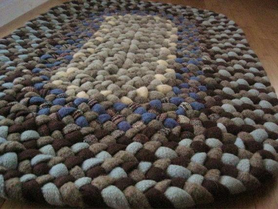 Handmade Wool Oval Braided Rug Or Bath Mat In Sky By Mrsginther, $89.00