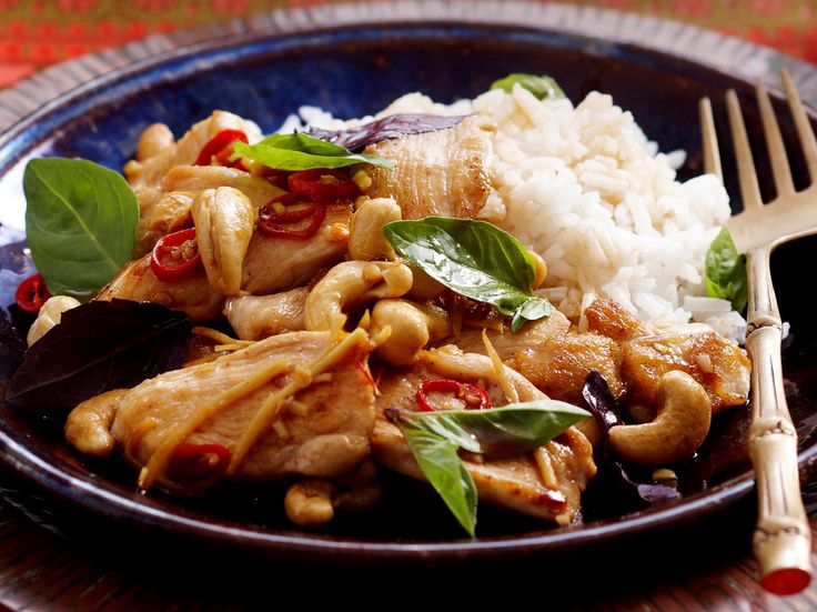 Basil and cashew chicken stir-fry recipe.