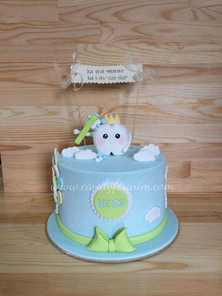 First tooth cake for baby boy #sekerhamuru #butikpasta #candyfirinim #fondantcake #sugarart