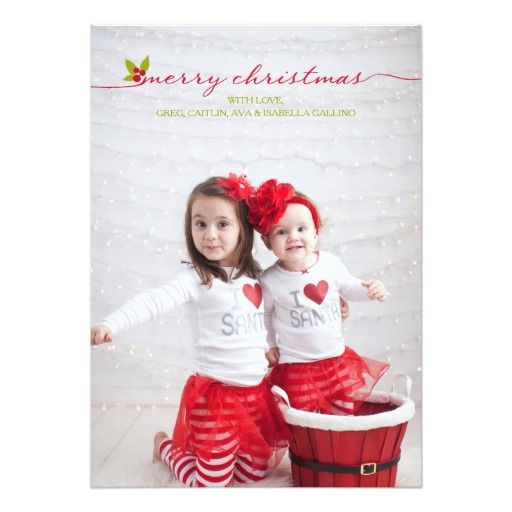 Full Photo Merry Christmas Holly and Berries
