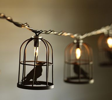 Caged crow string lights - pottery barn - 8ft (10 cages) - USD 30 holidays Pinterest Products ...
