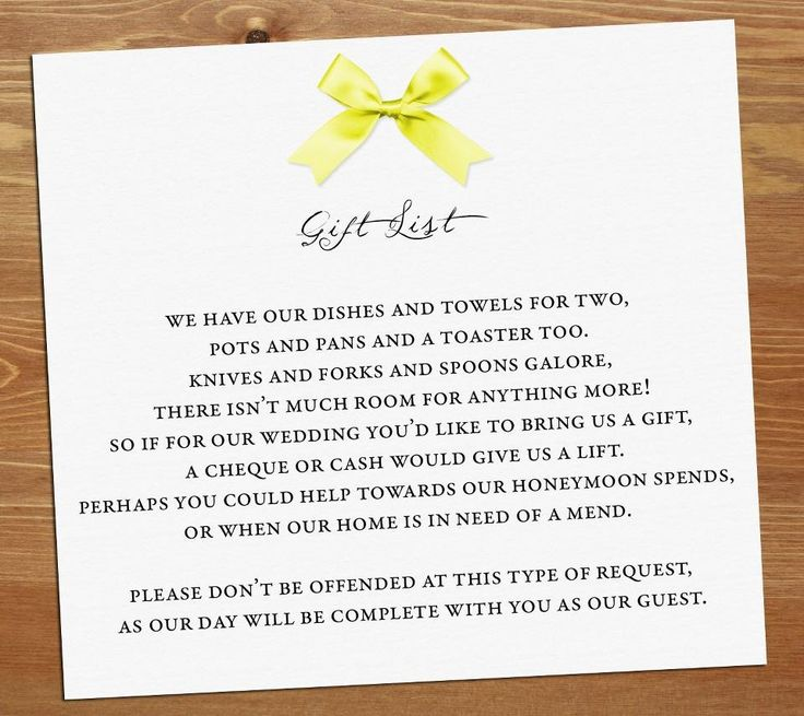 Wedding Gift Poems No Presents : Wedding gift poem Wedding invite ideas Pinterest