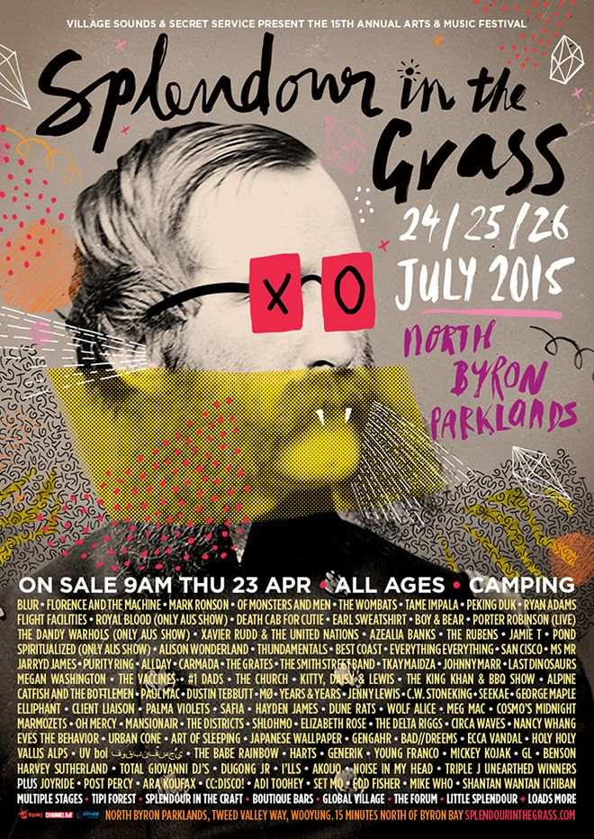 """Mathematics: Splendour in the Grass 2015 poster. A mix of collage, hand lettering, typography and illustration. The spontaneity of the poster reflects that of the diverse artist line up, also reflecting a general """"visual sound"""" that is Splendour in the Grass."""