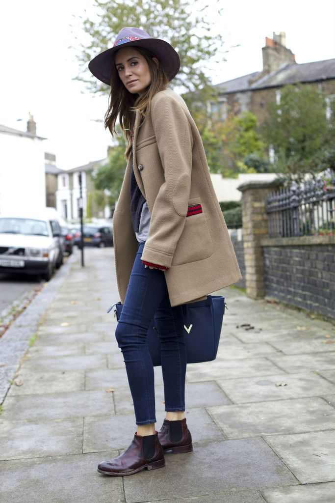 Gala Gonzalez Amlul AG Jeans Preventi Chelsea Boots V73 Tote Bag Isabel Marant knitted jumper Liberty London hat and a beige oversize coat #streetstyle #london