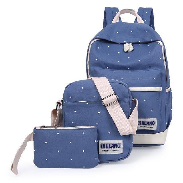 3Pcs/Sets Korean Casual Women Backpacks Canvas Book Bags Preppy Style School Back Bags for Teenage Girls Composite Bag mochila