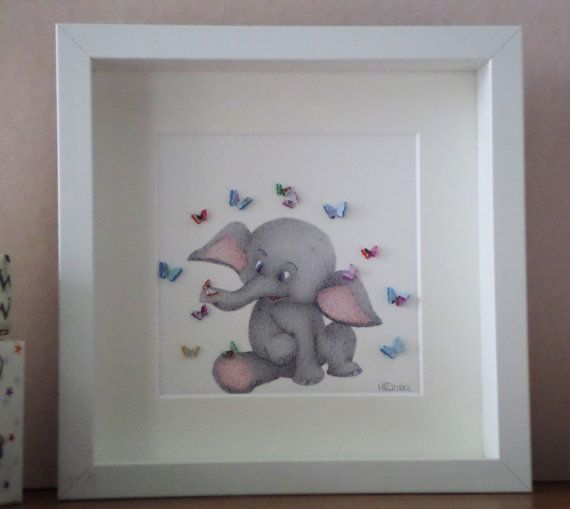 Nursery Wall Art. Quill. I Am. Baby Elephant with Butterflies. 3D Paper Art Made to Order in choice of colours. FREE UK SHIPPING.