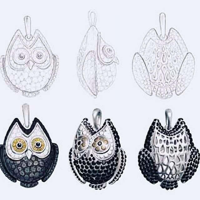 """Эскиз совы из коллекции """"S A F A R I"""" 🌿🌿🌿 💎💎💎#diamond #diamonds #design #designer #fashion #jewelry #owl #russia #moscow #gem #gems #stones #россия #москва #сова  #бриллиант #бриллианты #драгоценности #подвеска #украшения #necklace #vsco #vscocam #vscogood #instafashion #instajewelry #мода #вдохновение #дизайн #дизайнер @marinapavlikovskaya"""