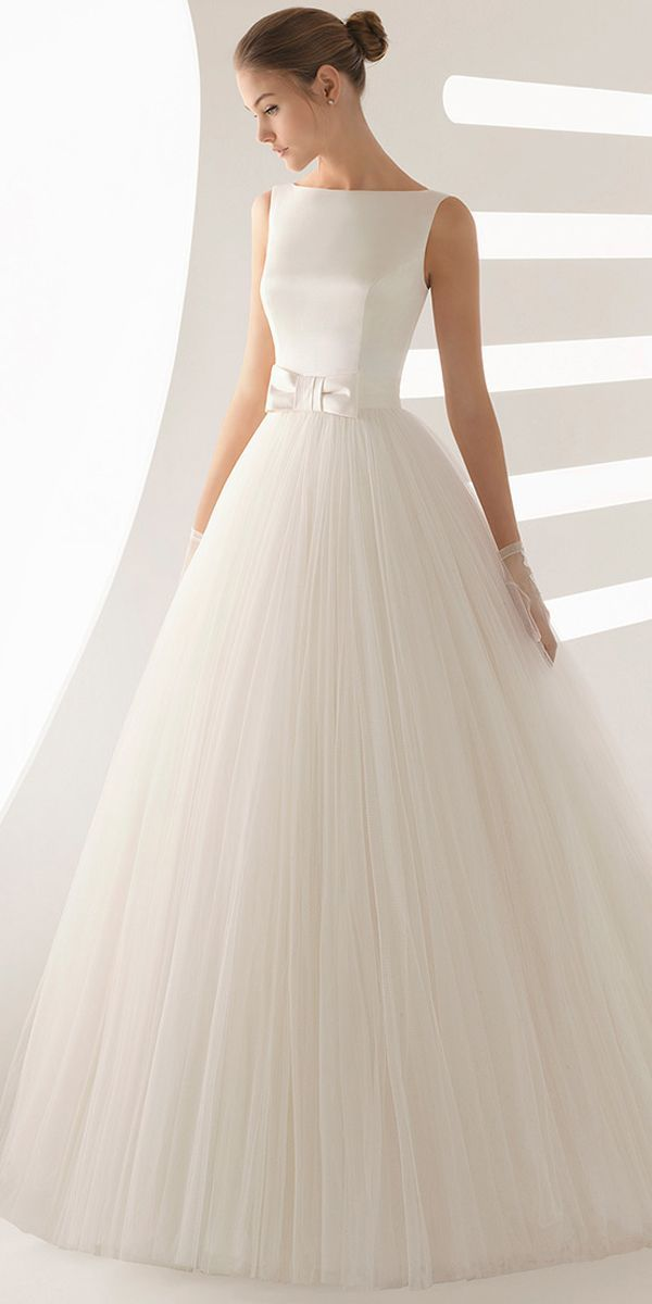 [183.99] Simple Satin & Tulle Bateau Neckline A-line Wedding Dress With Bowknot …