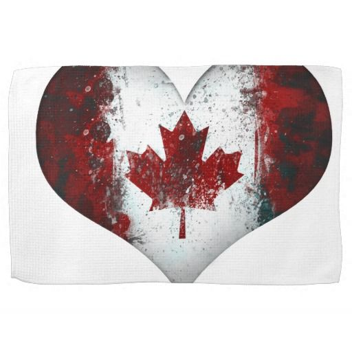 Canadian Maple Flag Heart Graffiti Kitchen Towel