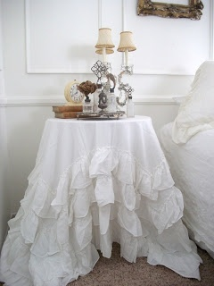 Shabby Chic, Ruffles, Table Cloth By Valerie C.
