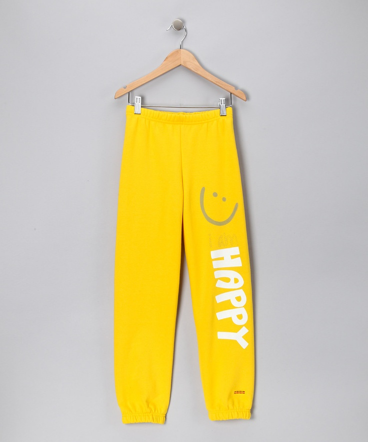 Yellow 'Happy' Sweatpants by Peace Love World on #zulily