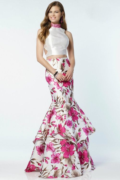 88ba8b3b8328 Alyce Paris - 6799 Long Prom Dress/ Summer Dress (Two piece mikado printed  ruffled mermaid skirt with a sheer sleeveless halter top and a mid open back .)