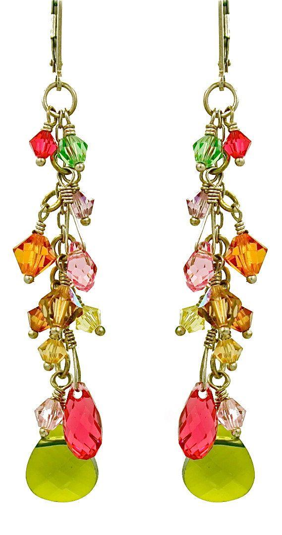 f960cb1262e666 Lovely cluster of Swarovski crystals   briolette earrings ...
