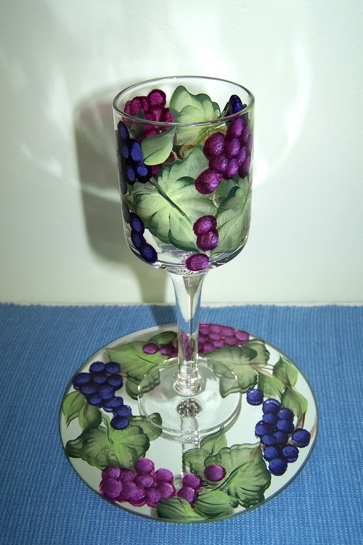 2 pc.Candle Holder with Hand Painted Grapes. $14.00, via Etsy.