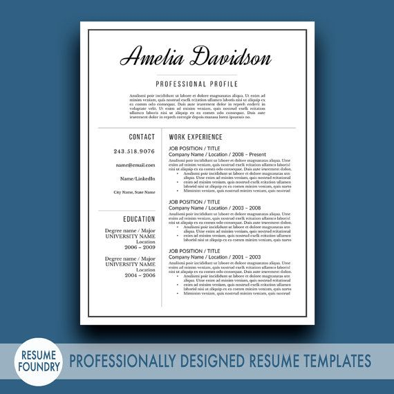 professional resume template the amelia
