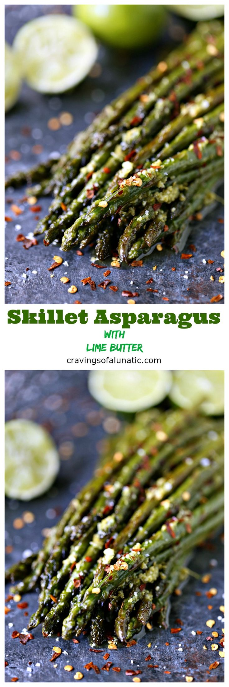 "Skillet Asparagus with Lime Butter from cravingsofalunatic.com- Asparagus season is full swing so enjoy every minute of it. This skillet asparagus is a quick and tasty side dish that will get rave reviews. My family voted it the ""Best Asparagus Ever""! #bornonthefarm #sponsored"