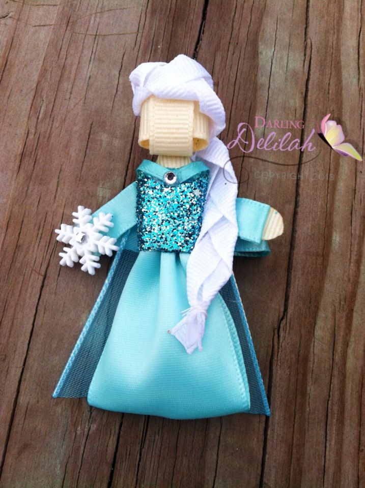 Elsa Ribbon Hair Clip Frozen Hair Clip by DarlingDelilah777